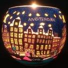Windlicht Amsterdamse grachten bij nacht