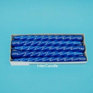 10 Gedraaide kaarsen donker blauw